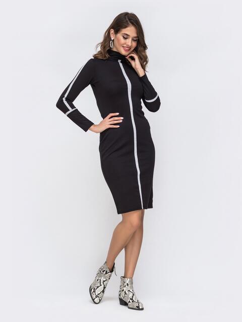 Платье из трикотажа с контрастными вставками чёрное 42632, фото 1