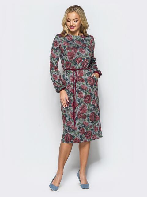Платье с цветочным принтом и поясом на резинке серое - 16918, фото 1 – интернет-магазин Dressa