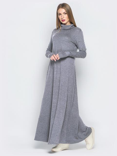 Платье с рукавами-митенками и объёмным воротником серое 51068, фото 1