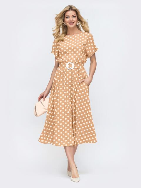 Платье в горох с расклешенной юбкой бежевое - 48311, фото 1 – интернет-магазин Dressa
