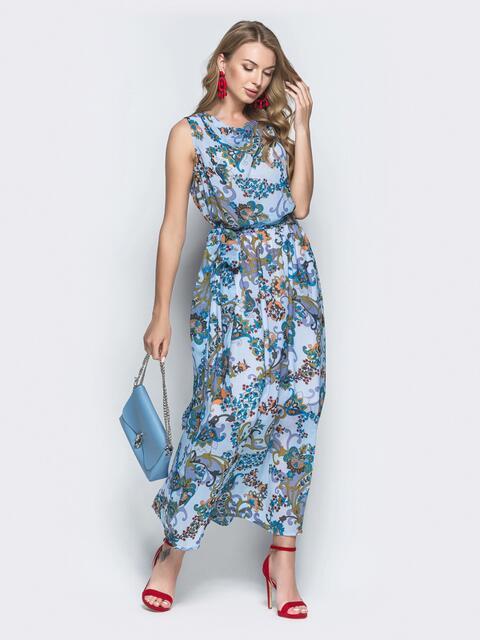 Принтованное платье-макси из шифона голубое 39138, фото 1