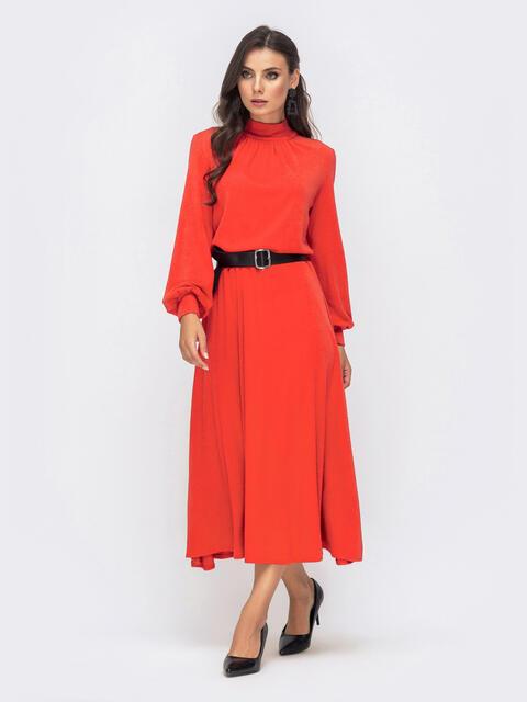 Расклешенное платье-макси с резинкой по талии красное 41336, фото 1