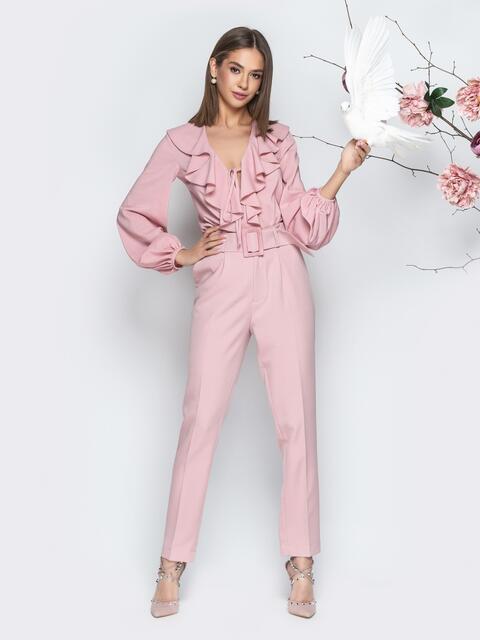 Розовая блузка с вырезом на завязках и воланом - 21264, фото 1 – интернет-магазин Dressa