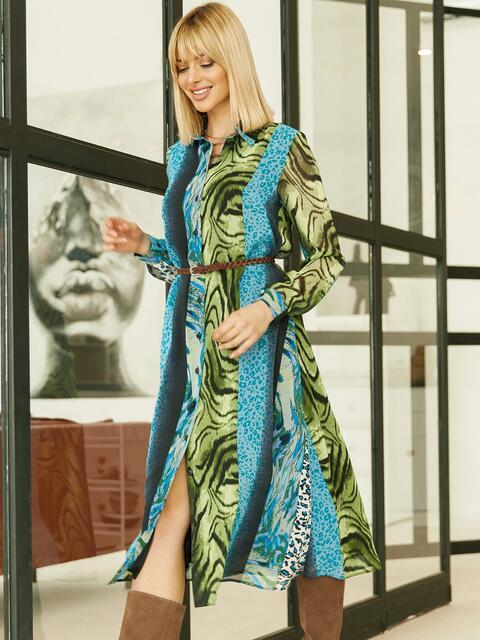 Шифоновое платье-рубашка с анималистичным принтом голубое 53354, фото 1