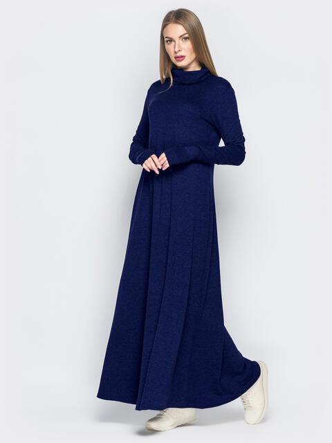 Тёмно-синее платье с рукавами-митенками и объёмным воротником 51069, фото 1