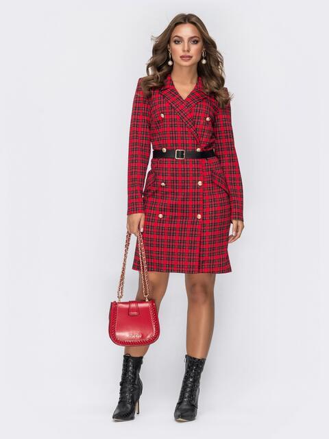 Трикотажное платье-пиджак красного цвета в клетку - 42367, фото 1 – интернет-магазин Dressa