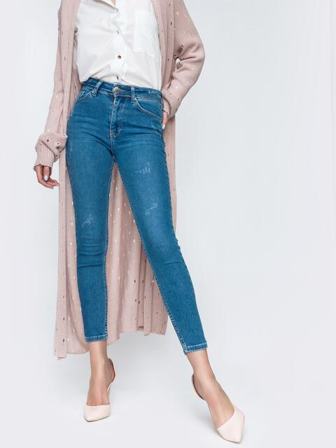 Укороченные джинсы-скинни голубого цвет 45477, фото 1