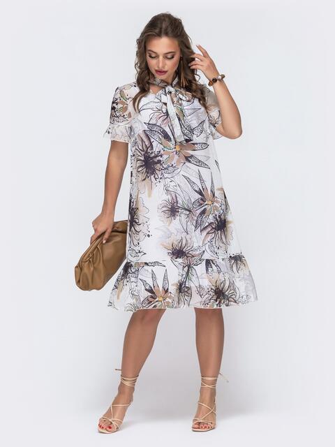 Белое платье-трапеция с принтом и воланом по низу 48079, фото 1