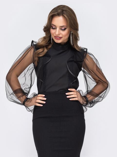 Блузка из креп-шифона с воланами на полочке чёрная - 42928, фото 1 – интернет-магазин Dressa