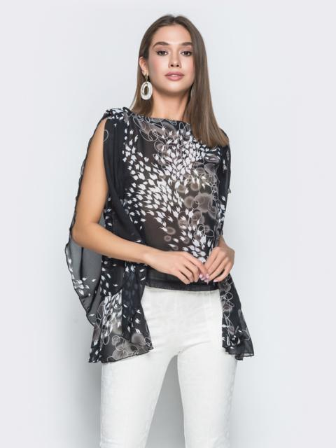 Чёрная блузка из шифона в стиле casual с принтом - 38980, фото 1 – интернет-магазин Dressa