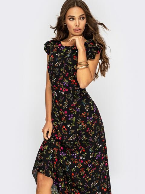 Черное платье с вырезом по спинке на пуговицах 53945, фото 1