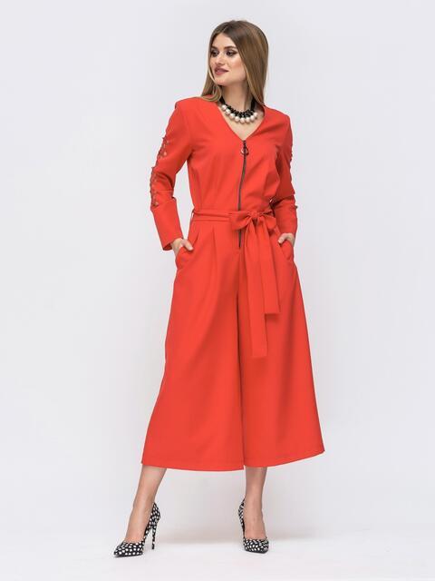 Красный комбинезон с брюками-кюлот и перфорацией на рукавах 42927, фото 1
