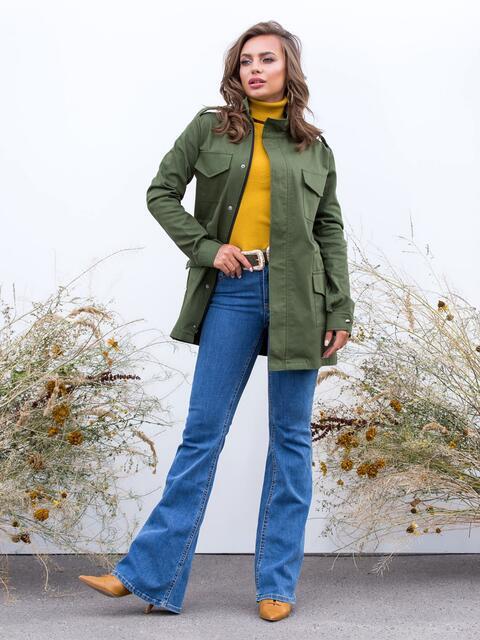 Куртка цвета хаки с накладными карманами - 40663, фото 1 – интернет-магазин Dressa