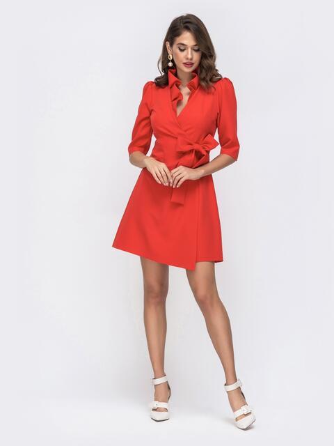 Платье на запах с воланом по вырезу красное 42924, фото 1