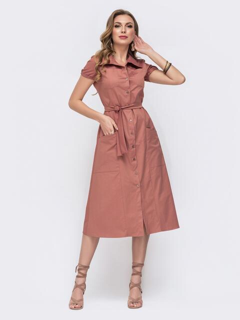 Платье отрезное по талии с карманами розовое 47481, фото 1