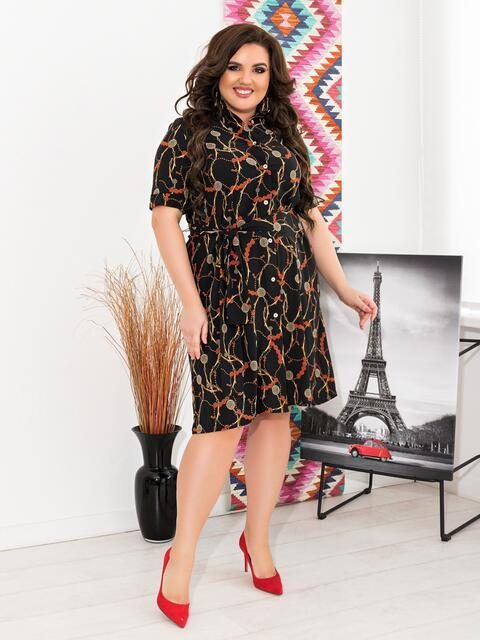 Приталенное платье батал чёрного цвета в принтом - 47633, фото 1 – интернет-магазин Dressa