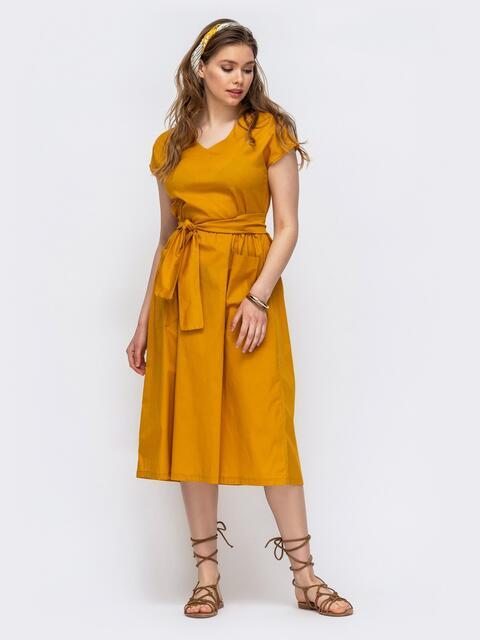 Расклешенное платье с цельнокроеным рукавом желтое 47479, фото 1