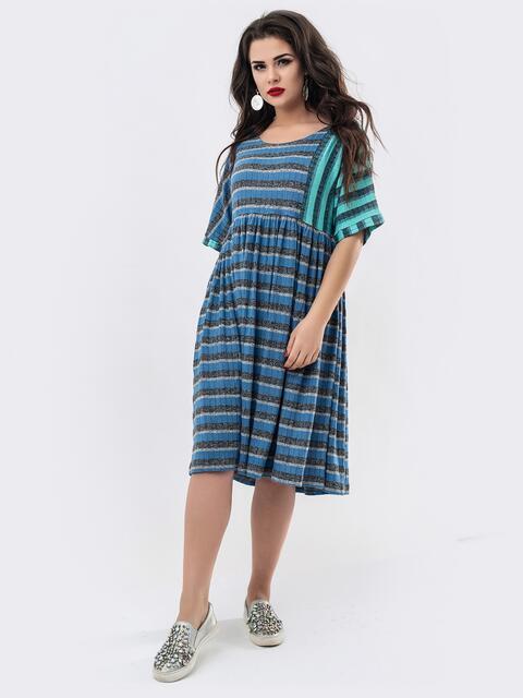 Синее платье-миди в полоску свободного кроя 20919, фото 1