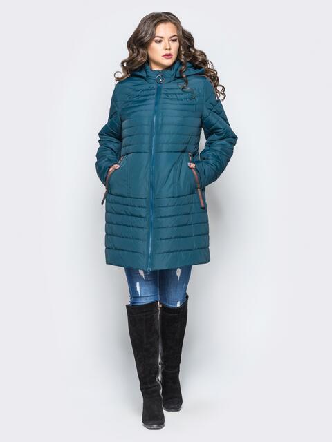 Удлиненная куртка со съемным капюшоном и заклёпкой на карманах синяя - 16952, фото 1 – интернет-магазин Dressa