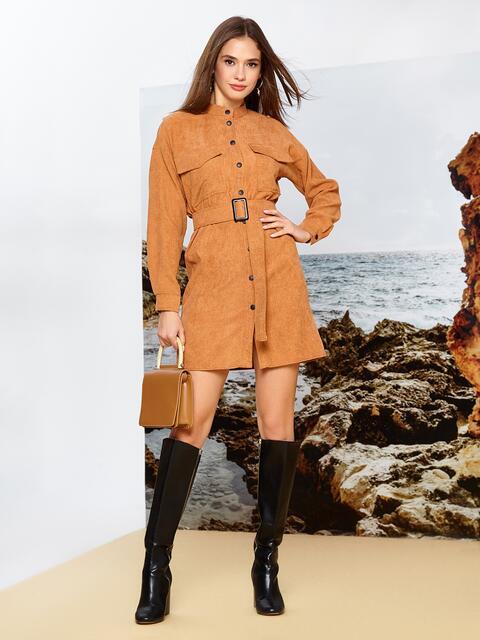 Вельветовое платье-рубашка коричневого цвета на кнопках - 42165, фото 1 – интернет-магазин Dressa