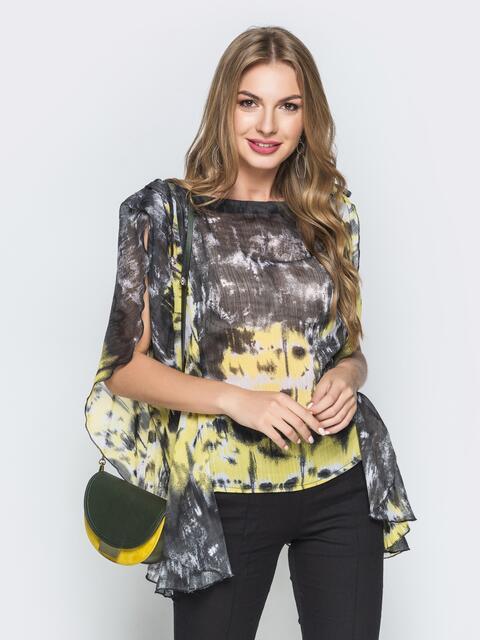 Зеленая блузка из шифона в стиле casual с принтом - 38981, фото 1 – интернет-магазин Dressa