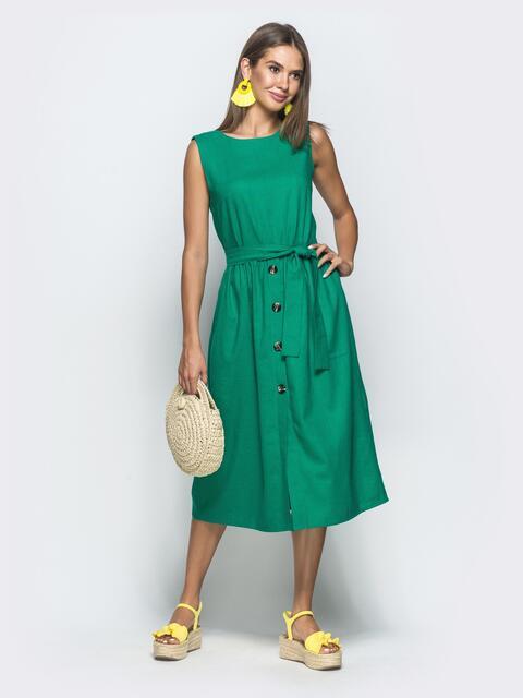 Зелёное платье из льна с поясом 39705, фото 1