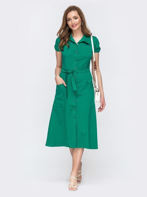Зеленое платье-миди отрезное по талии 47537, фото 1