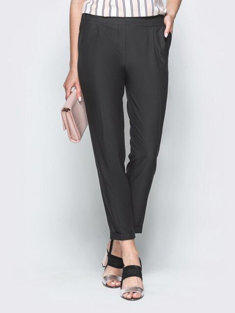 Чёрные брюки из костюмной ткани - 39180, фото 1 – интернет-магазин Dressa