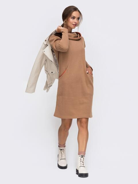 Коричневое платье прямого кроя с капюшоном 50202, фото 1