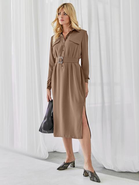 Платье-рубашка с разрезами по бокам коричневое 51255, фото 1