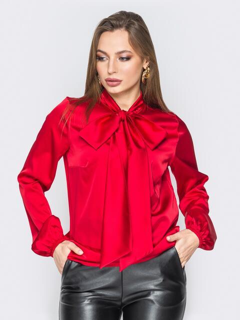 Шелковая блузка с воротником аскот красная - 19432, фото 1 – интернет-магазин Dressa
