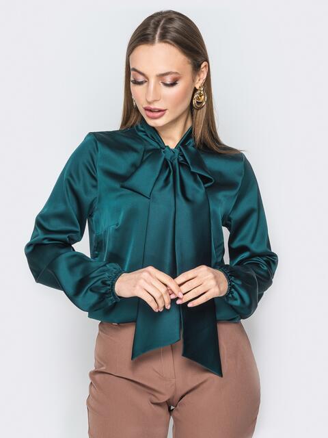 Шелковая блузка с воротником аскот зелёная - 19433, фото 1 – интернет-магазин Dressa