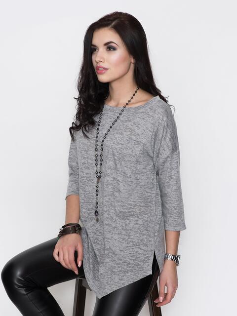 Туника серого цвета с ассиметричным низом - 18306, фото 1 – интернет-магазин Dressa