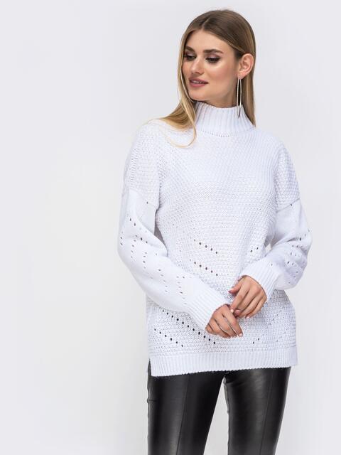 Белый свитер со спущенной линией плеч и перфорацией - 43141, фото 1 – интернет-магазин Dressa