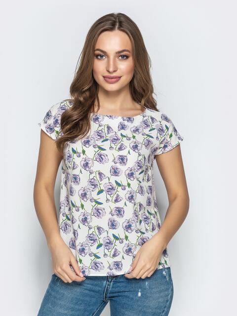 Прямая блузка из принтованного софта белая - 22280, фото 1 – интернет-магазин Dressa