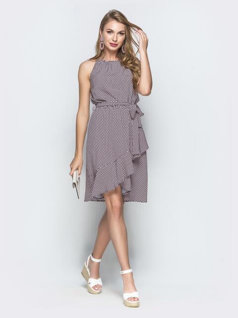 Пудровое платье в горох с американской проймой и юбкой на запах - 39132, фото 1 – интернет-магазин Dressa