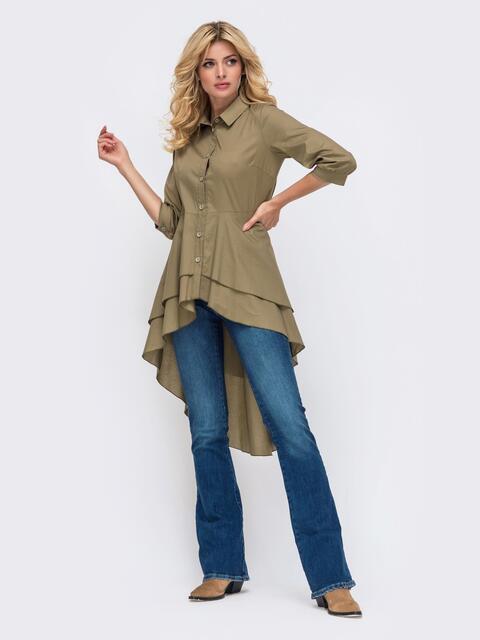 Рубашка цвета хаки с объёмной баской 50383, фото 1