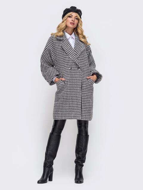 Серое двубортное пальто с прорезными карманами спереди 50384, фото 1