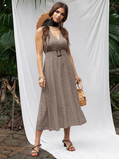 Бежевое платье из софта с поясом 53887, фото 1