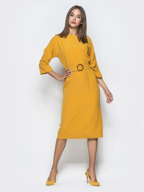 Горчичное платье-миди с цельнокроеным рукавом - 40112, фото 1 – интернет-магазин Dressa