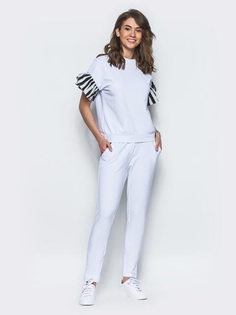 Комплект с полосатыми воланами на рукавах белый - 12718, фото 1 – интернет-магазин Dressa