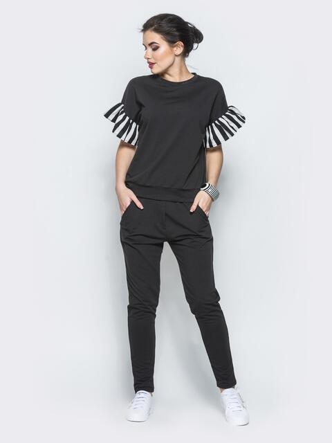 Комплект с полосатыми воланами на рукавах черный - 12719, фото 1 – интернет-магазин Dressa