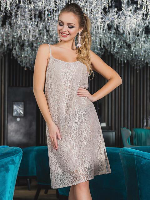 Платье-комбинация из бежевого гипюра - 13146, фото 1 – интернет-магазин Dressa