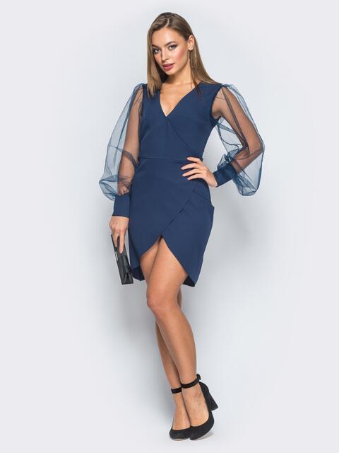 Платье с запахом и фатиновыми рукавами тёмно-синее - 18177, фото 1 – интернет-магазин Dressa