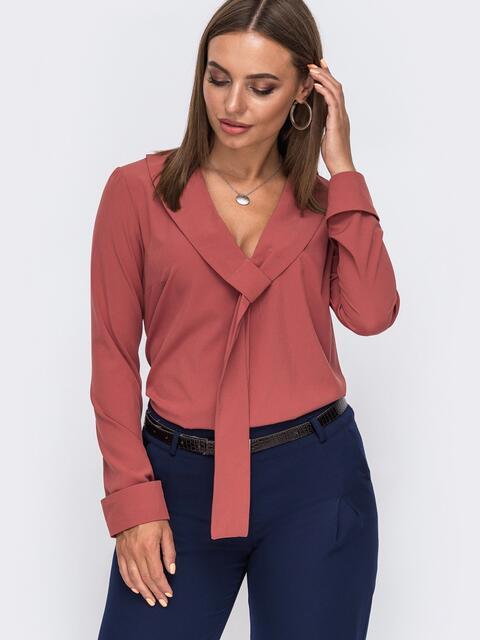 Свободная блузка с шалевым воротником терракотовая - 49522, фото 1 – интернет-магазин Dressa