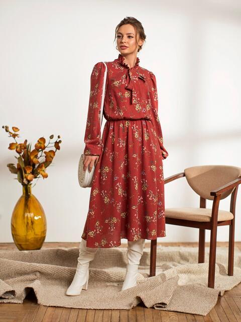 Терракотовое платье с флористическим принтом 44241, фото 1