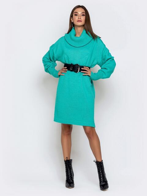 Туника в стиле oversize с воротником-хомут бирюзовая - 41196, фото 1 – интернет-магазин Dressa