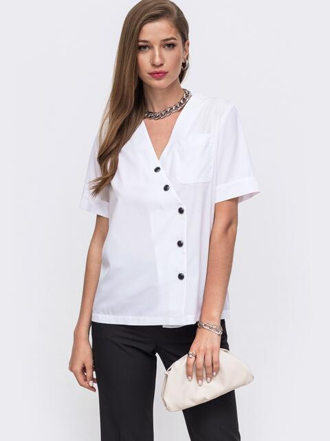 Блузка прямого кроя с V-образным вырезом белая - 49412, фото 1 – интернет-магазин Dressa
