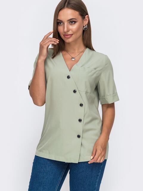 Блузка прямого кроя с V-образным вырезом зеленая 49413, фото 1