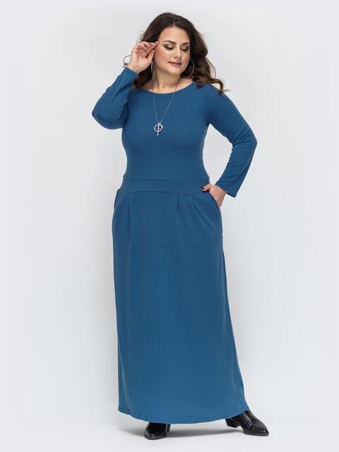 Голубое платье большого размера в пол с рукавом-реглан 44681, фото 1